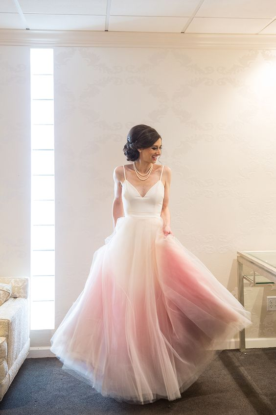 Sunset colored wedding dress